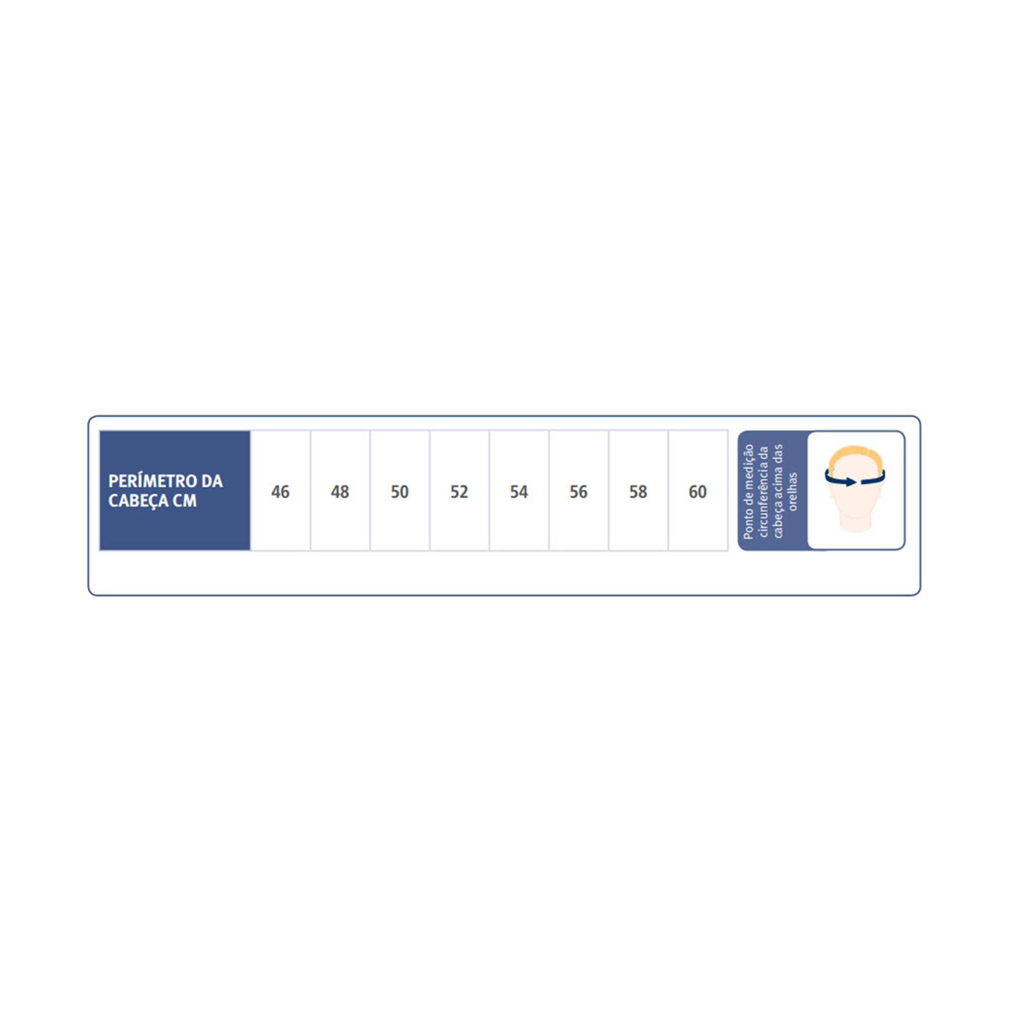 ... Capacete Proteção Craniana - Tabela Medidas d50265e3b6