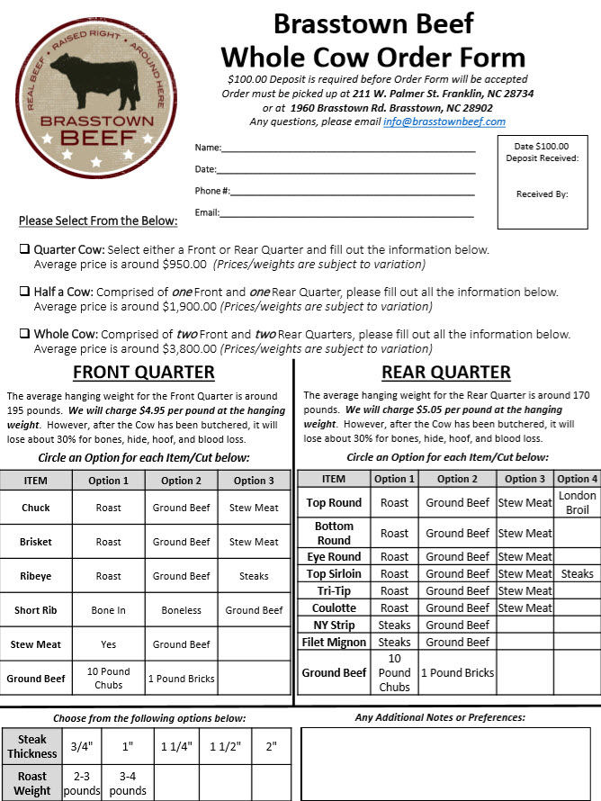 Brasstown Beef - Whole Cow Order Form
