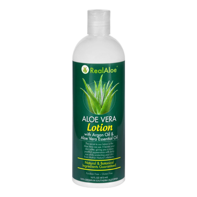 Real Aloe Essential Oil With Argan Oil Aloe Vera Lotion For Skin, 16 oz