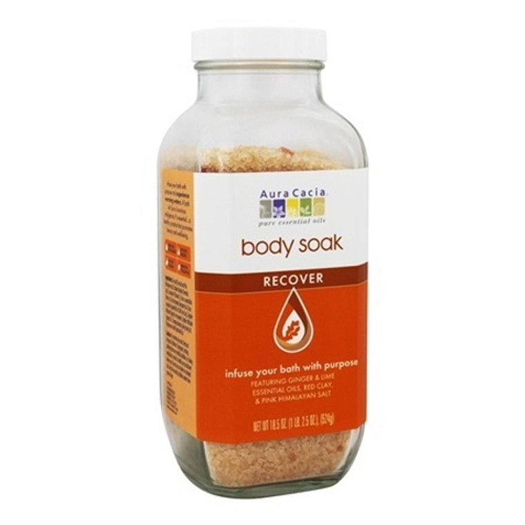 Aura Cacia Body Soak Recover With Ginger and Lime and Pink Himalayan Salt, 18.5 Oz