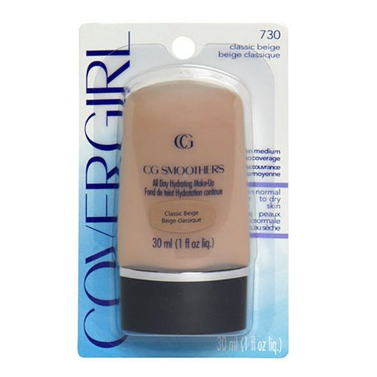 Cover Girl Smoothers All Day Hydrating Liquid Make-Up Foundation, Classic Beige #730 - 1 Oz