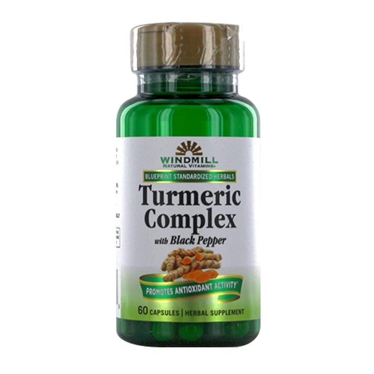 Windmill Natural Vitamins Turmeric Complex with Black Pepper Capsules, 60 Ea