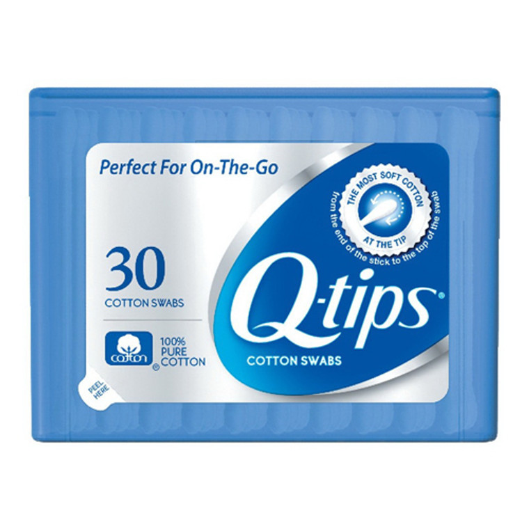 Q-Tips Cotton Swabs Purse Pack For Makeup Application - 30 Ea, 3 Pack