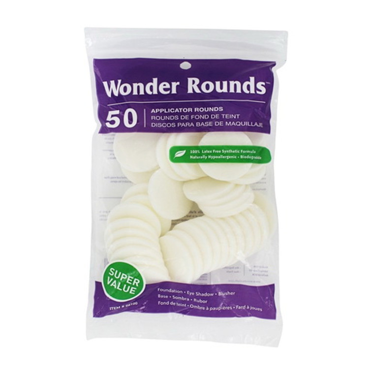 Wonder Rounds Cosmetic Puff, 50 Ea