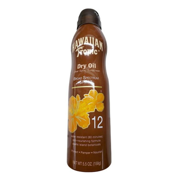 Hawaiian Tropic Tanning Dry Oil Clear Spray Sunscreen, SPF 12 - 5.5 Oz
