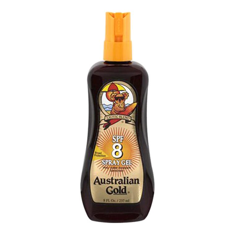Australian Gold Sunscreen Spray Gel SPF8 Waterproof Sunscreen, 8 oz