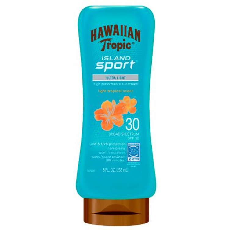 Hawaiian Tropic Island Sport Ultra Light Tropical Scent SPF 30 Sunscreen Lotion, 8 Oz