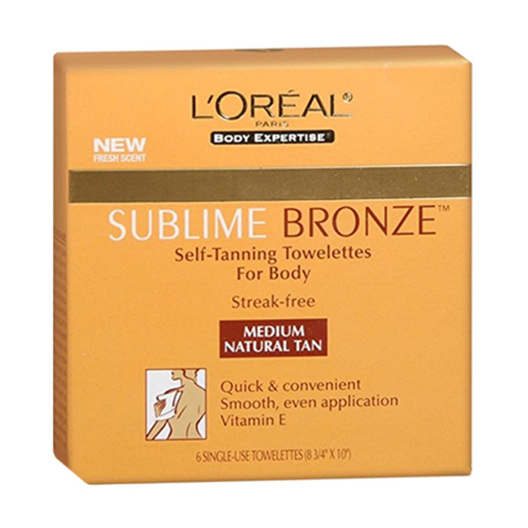 Loreal Dermo Expertise Sublime Bronze Self-Tanning Towelettes, Medium - 1 Ea