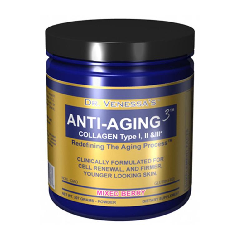 Dr.Venessas Formulas Anti-Aging 3 Collagen Powder, Mixed Berry - 300 Grams