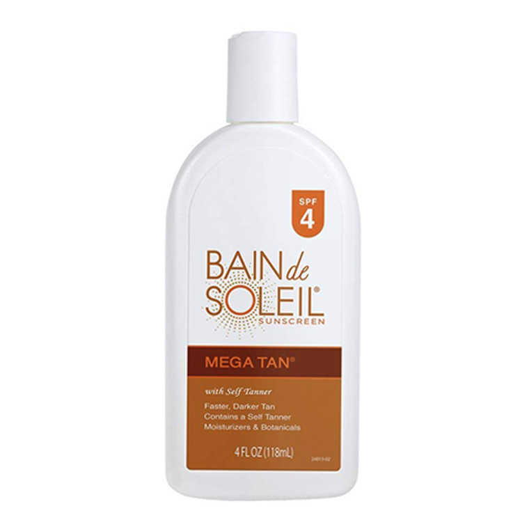 Bain de Soleil Mega Tan Sunscreen With Self Tanner SPF 4, 4 Oz