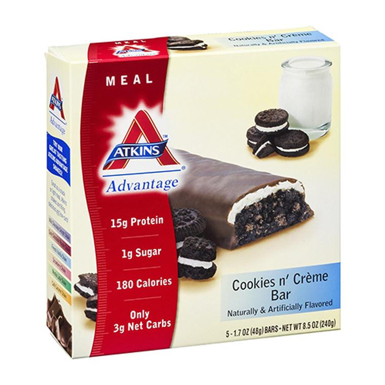 Atkins Advantage Cookies N Creme Bar Chocolate - 1.7 Oz, 5 Ea