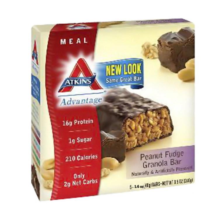 Atkins Advantage Peanut Fudge Granola Bar - 1.6 Oz, 5 / Pack