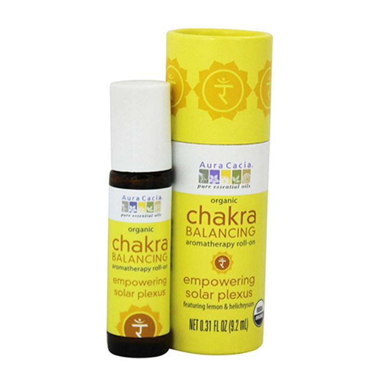 Aura Cacia Organic Chakra Balancing Aromatherapy Roll-On, Empowering Solar Plexus, 0.31 oz