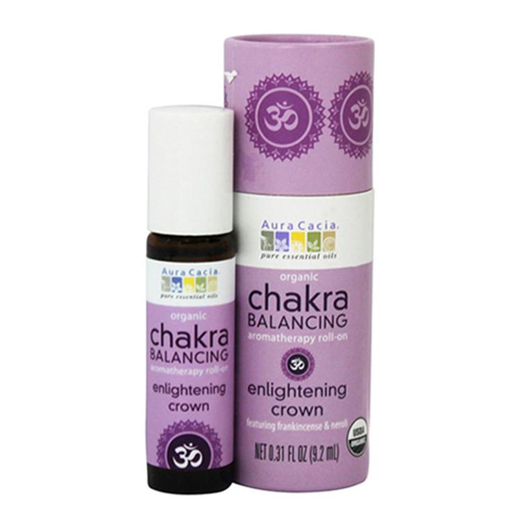 Aura Cacia Organic Chakra Balancing Aromatherapy Roll-On, Enlightening Crown, 0.31 oz