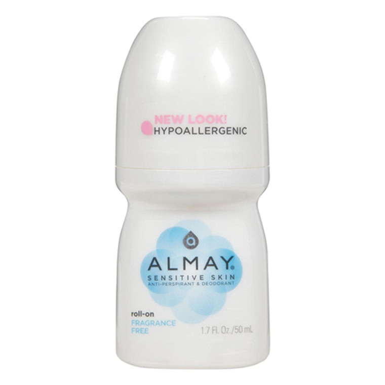 Almay Anti-Perspirant And Deodorant, Sensitive Skin, Roll-On, Fragrance Free, 1.7 oz