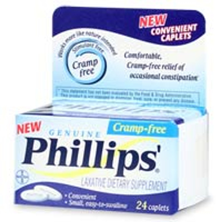 Phillips Cramp-Free Laxative, Caplets Relieves Constipation - 24 Ea