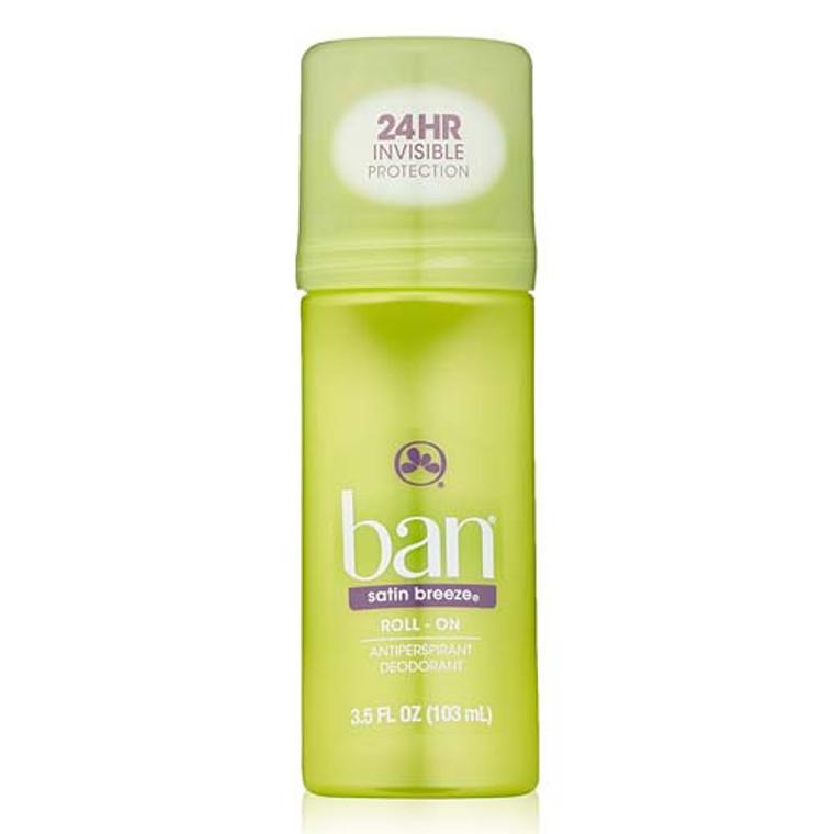 Ban Roll-On Antiperspirant Deodorant, Satin Breeze, 3.5 oz