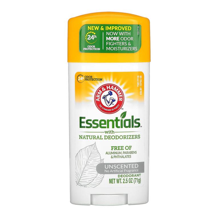 Arm & Hammer Essentials Natural Deodorant, Unscented - 2.5 Oz