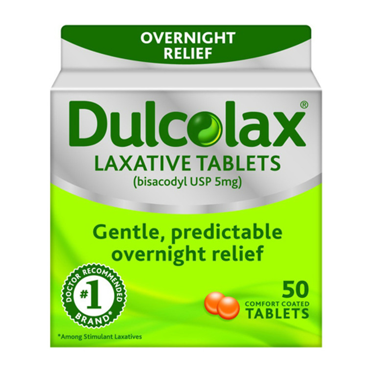 Dulcolax Stimulant Laxative Comfort Coated Tablets Over Night Relief, 50 Ea
