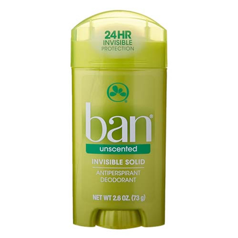 Ban Invisible Solid Anti-Perspirant And Deodorant, Unscented, Intensely Fresh - 2.6 Oz