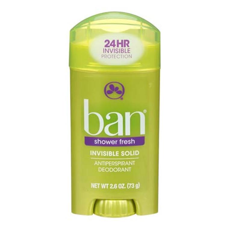 Ban Invisible Solid Anti-Perspirant Deodorant, Shower Fresh - 2.6 Oz