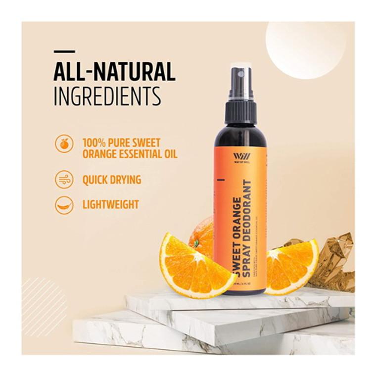 Way of Will Sweet Orange Spray Deodorant for Women and Men, 4 Oz