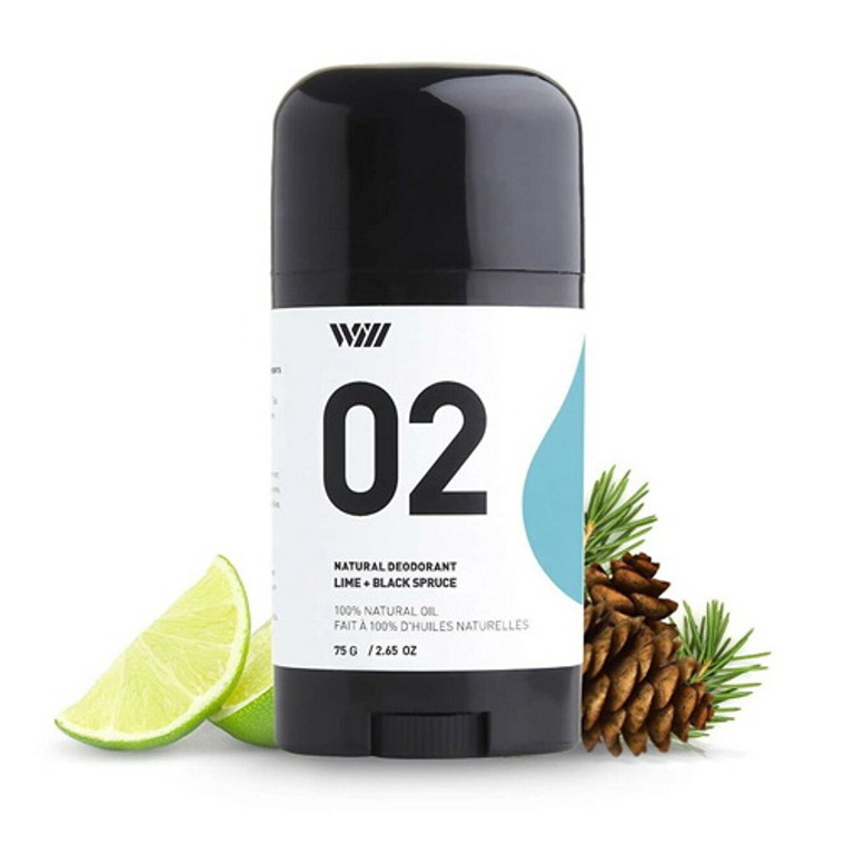 Way Of Will 02 Natural Deodorant Lime and Black Spruce, 2.65 Oz