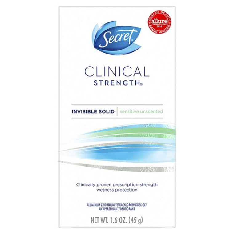Secret Clinical Strength Invisible Solid Womens Antiperspirant And Deodorant Unscented, 1.6 Oz