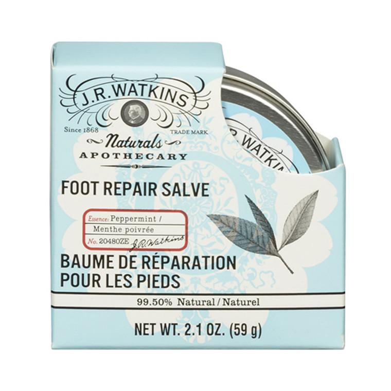 J R Watkins Natural Apothecary Foot Repair Salve, Peppermint - 2.1 Oz