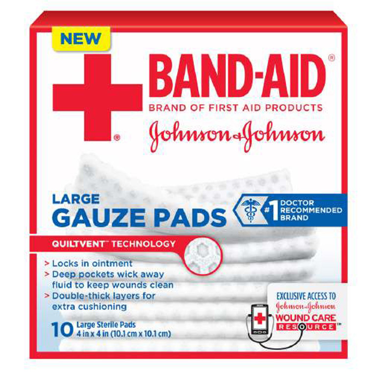 Band Aid First Aid Gauze Pads, Large, 4 Inch X 4 Inch - 10 Ea