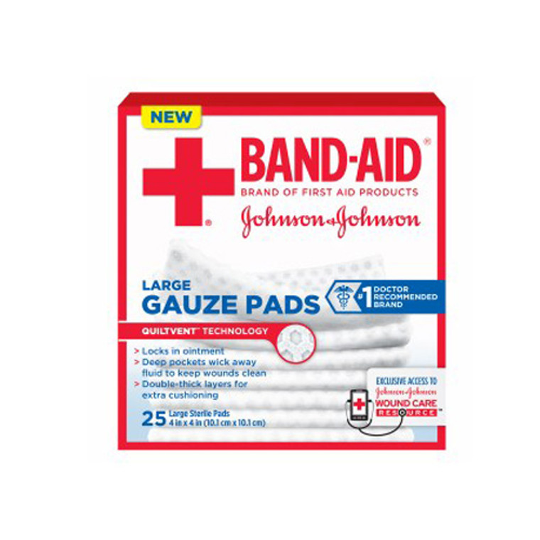 Band Aid First Aid Gauze Pads, Large, 4 Inch X 4 Inch - 25 Ea