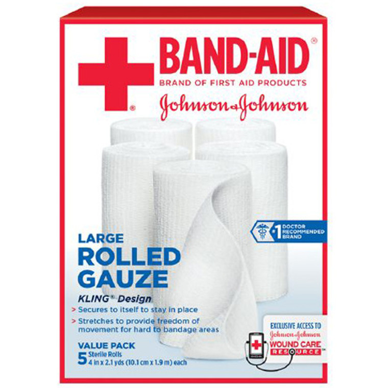 Band Aid First Aid Covers Kling Rolled Gauze, Large 4 Inch X 2.1 Yards - 5 Ea
