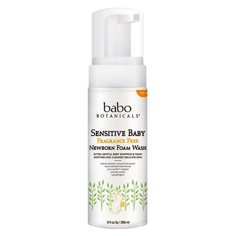 Babo Botanicals Sensitive Baby Newborn Foam Wash Fragrance Free, 9 Oz