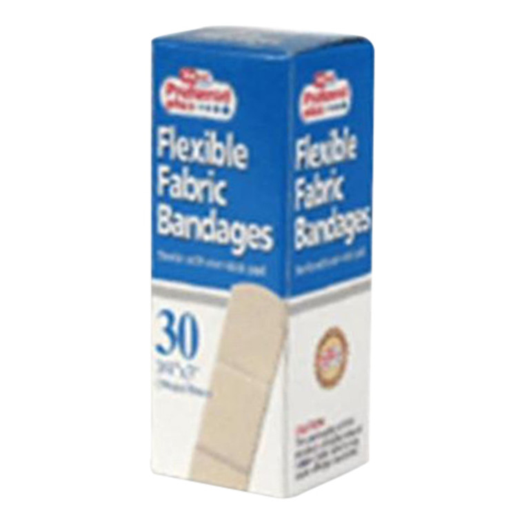 Preferred Plus Flexible Fabric Adhesive Bandages Of 3/4 X 3 Inches - 30 Ea