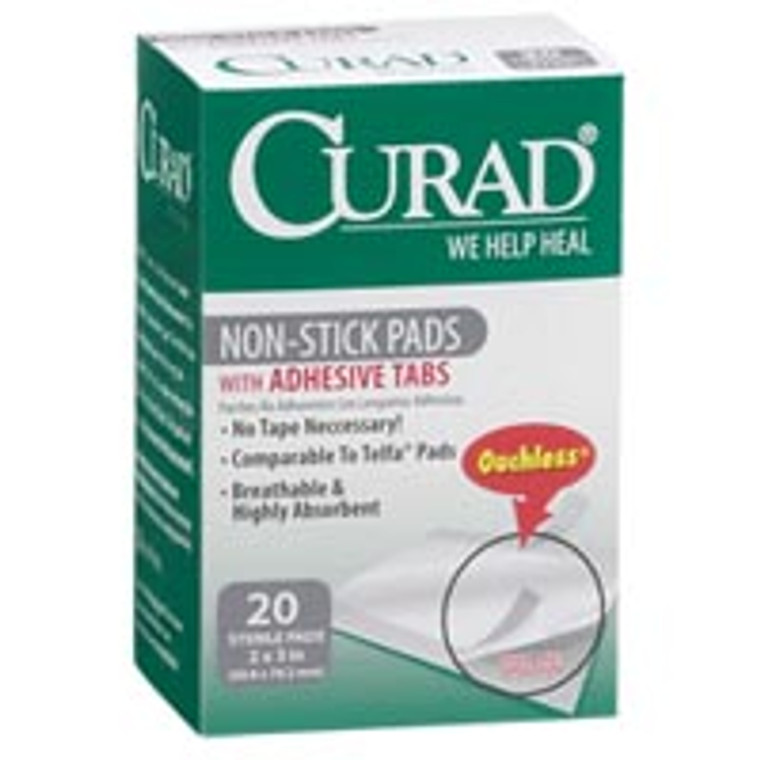 Curad Telfa Non-Stick Pads With Adhesive, Ouchless, 2 Inches X 3 Inches - 20 Ea