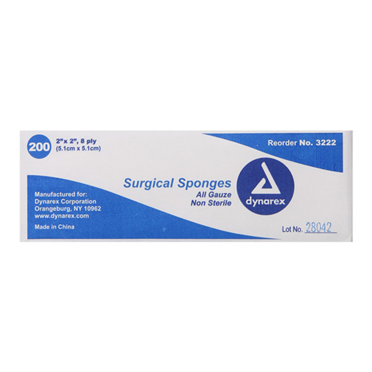Dynarex Gauze Sponges Non-Sterile - 8 Ply 2 Inches X 2 Inches - 200 Ea