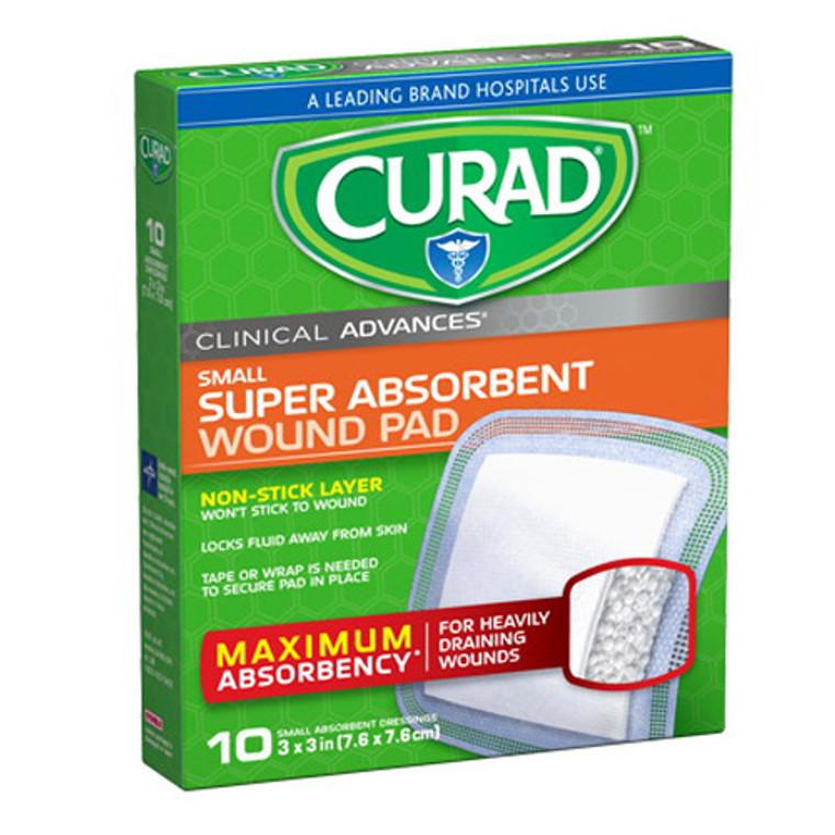 Curad Clinical Advances Super Absorbent Wound Pads 3inc x 3inc, Small, 10 Ea