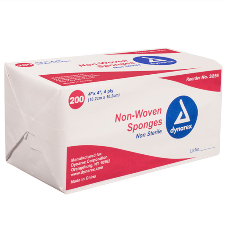 Dynarex 4 Ply Non-Woven Gauze Sponges Of 4 X 4 Inches, Non-Sterile - 200 Ea