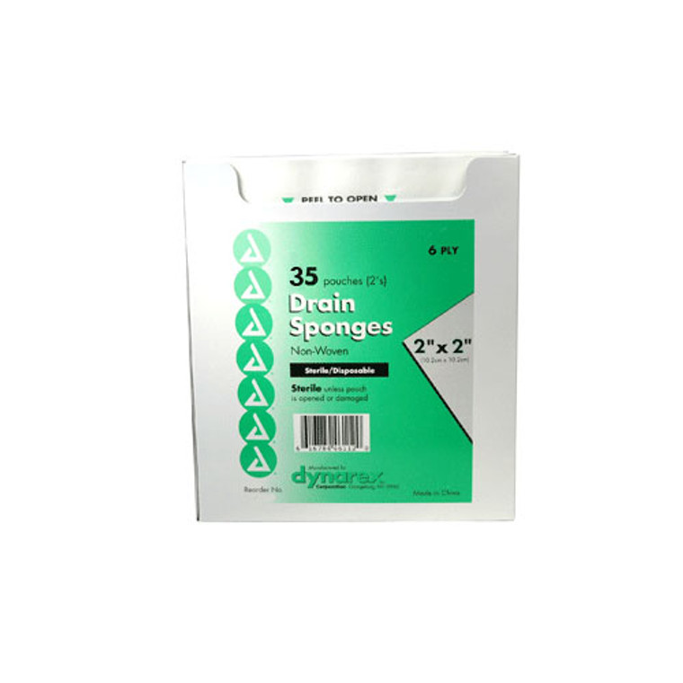 Dynarex Sterile 6 Poly Trach Gauze Drain Sponges 2X2 - 35 Ea