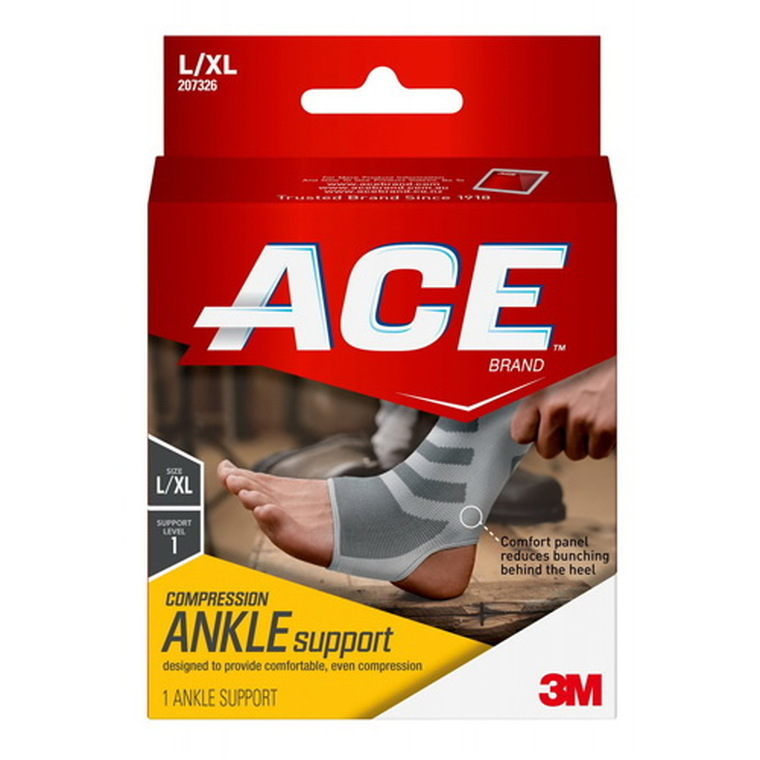 3M Ace Brand Compression Ankle Support, Large or Extra Large, 1 Ea