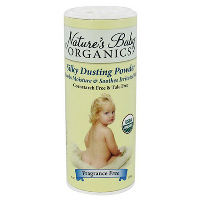 Nature'S Baby Organics Silky Dusting Powder Absords Moisture And Irritated Skin, Fragrance Free, 4 Oz