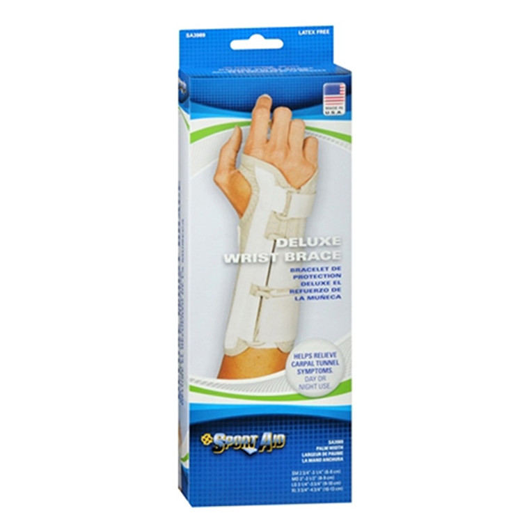 Sportaid, Wrist Brace Deluxe, Right, Beige, Small, 2.75 to 3.25 Inches, 1 Ea
