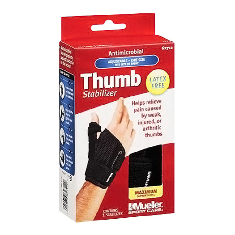 Mueller Sport Care Antimicrobial Thumb Stabilizer, Maximum Support