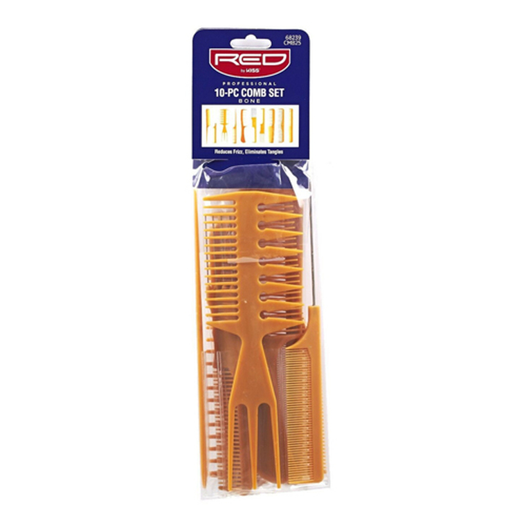 Kiss Red Professional Comb Set, Bone, 10 Ea