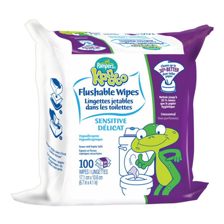 Pampers Kandoo Flushable Wipes For Toddlers, Sensitive Refill - 100 Ea