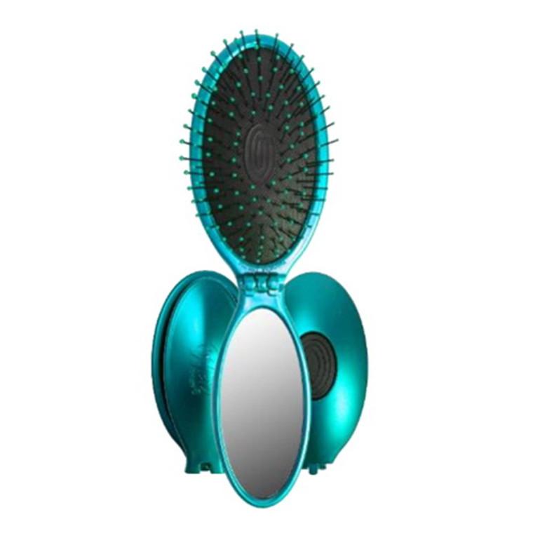 Wet Brush Pop and Go Foldable Detangler Hair Brush Plus Mirror, Teal, 1 Ea