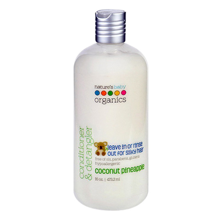 Natures Baby Organics Conditioner and Detangler, Coconut Pineapple, 16 Oz