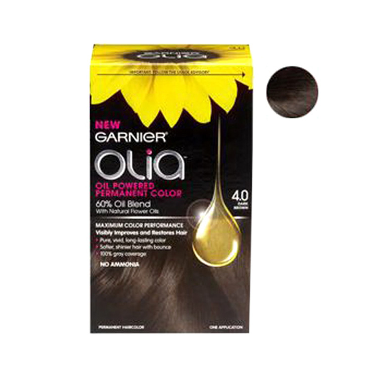 Garnier Olia Oil Powered Permanent Haircolor, Dark Brown 4.0 - 1 Kit