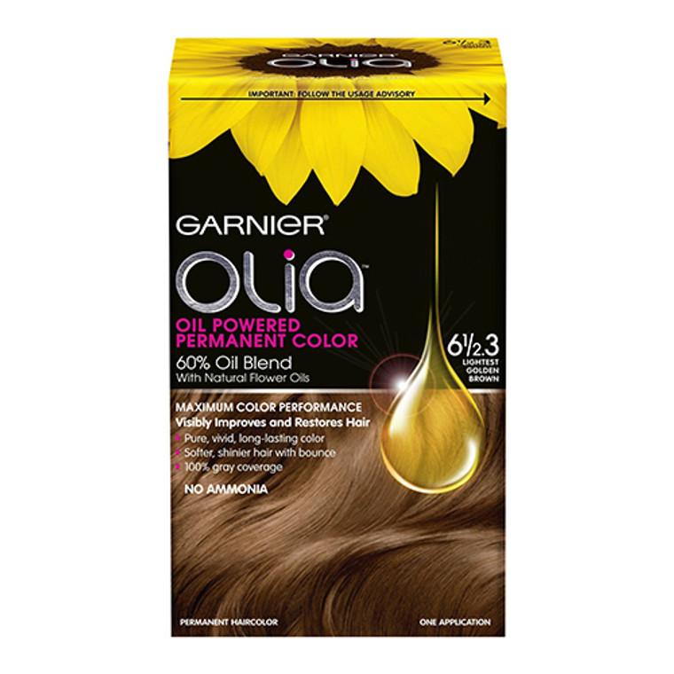 Garnier Olia Oil Powered Permanent Haircolor, 6 1/2 .3 Lightest Golden Brown - Kit