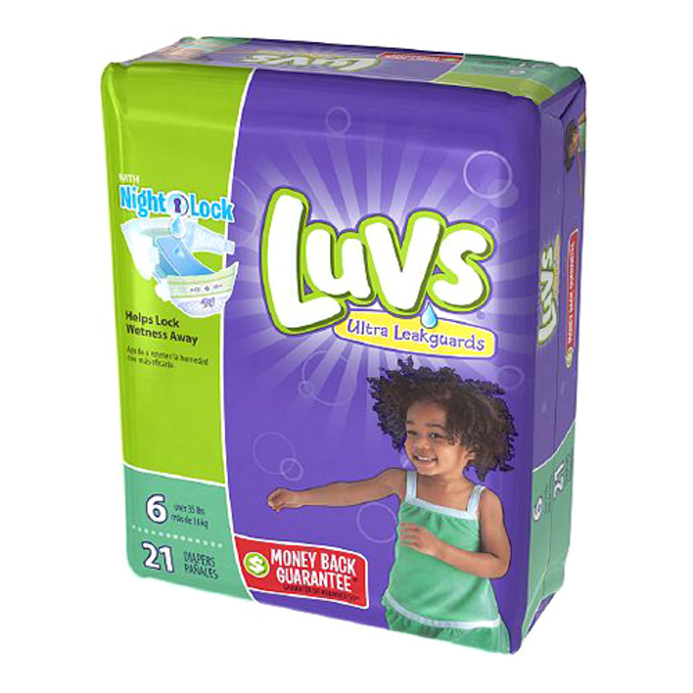 Luvs With Ultra Leakguards Diapers  Size 6, Night Lock- 21 Ea, 4 Pack